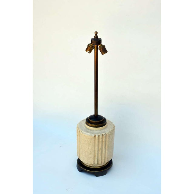 Chic Art Deco Crackled Cream Ceramic Lamp by Robert T. Lallemant (1902-1954). Following studies with Ovide Yencesse at the...