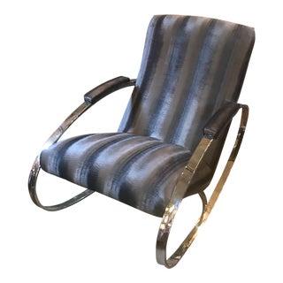 Mid Century Modern Adrian Pearsall Chrome Flat Bar Rocker Chair Newly Upholstered in Silver Mist Velvet For Sale