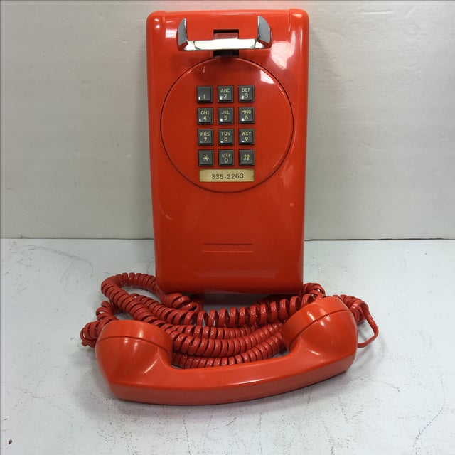 Mid-Century Modern Bright Orange Push Button Wall Phone For Sale - Image 3 of 11
