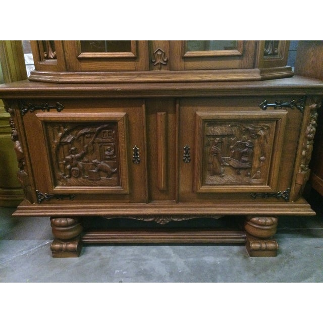 Austrian Hand-Carved Antique China Cabinet - Image 5 of 8
