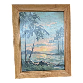 Palm Trees Paint by Numbers in Frame For Sale