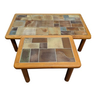 Danish Teak Tile Top Tables - Set of 2 For Sale