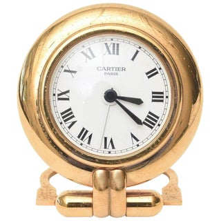 Cartier 24 Karat Gold Plated Travel Quartz Desk Clock/ Desk Accessory For Sale