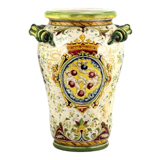 Mediterranean Majolica Medici Vase/Umbrella Stand For Sale