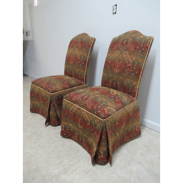 Hollywood Regency Ethan Allen American Impressions Parson Dining / Side Chairs - a Pair For Sale - Image 3 of 11