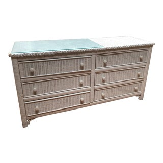 Henry Link White Wicker Dresser For Sale