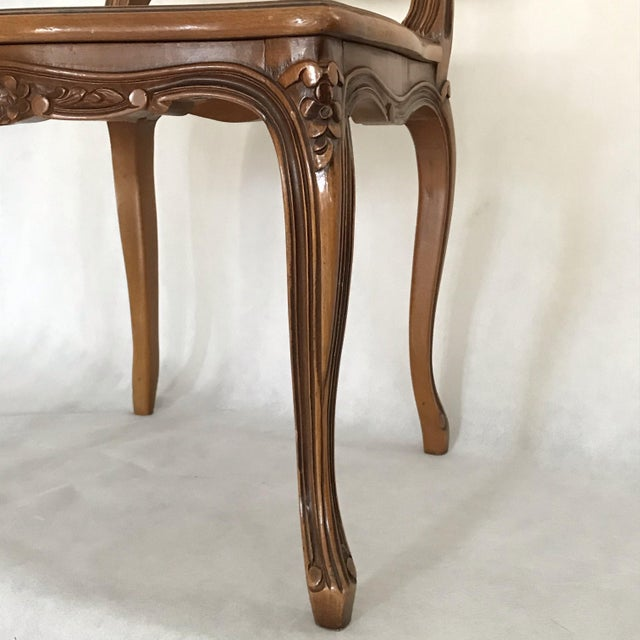 Classic Antique Set of 6 Louis XV Carved Walnut & Caned Dining Chairs For Sale In Portland, ME - Image 6 of 13