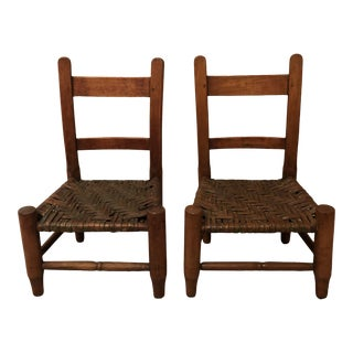 Antique Children's Caned Wood Chairs - Set of 2 For Sale