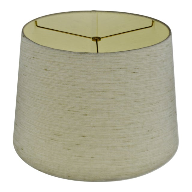 Vintage Linen Fabric Drum Lamp Shade For Sale