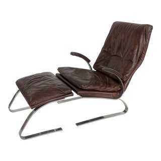 1970s Vintage Milo Baughman for Thayer Coggin Chrome & Leather Lounge Chair & Ottoman For Sale