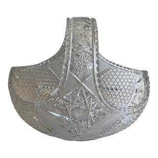 Large Cut Crystal Glass Basket For Sale