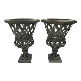 Vintage Handmade French Planters - A Pair