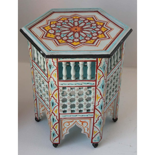 Moroccan Hand Painted Ivory Tables - a Pair For Sale - Image 9 of 13