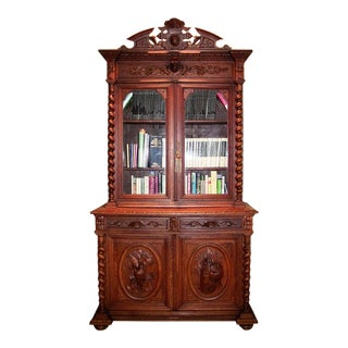 Early 19c French Provincial Highly Carved Oak Bookcase