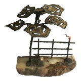 Image of 1974 Signed Curtis Jere Brutalist Tree and Fence Sculpture on Stone Base For Sale