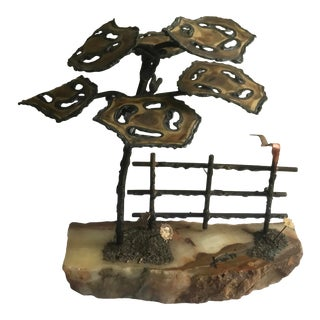1974 Signed Curtis Jere Brutalist Tree and Fence Sculpture on Stone Base For Sale