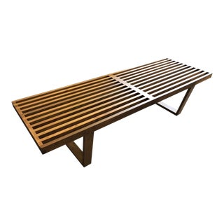 1950s Vintage George Nelson Herman Miller Classic Slat Bench For Sale