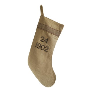 """Metallic Numeric Stocking with Silk Back- """"1902"""" For Sale"""