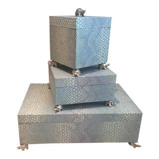 Contempoerary John Richard Turtle Feet Blue Boxes - Set of 3 For Sale