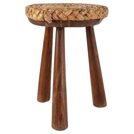 French Campagne Style Wood and Rope Tripod Stool, 1950s For Sale