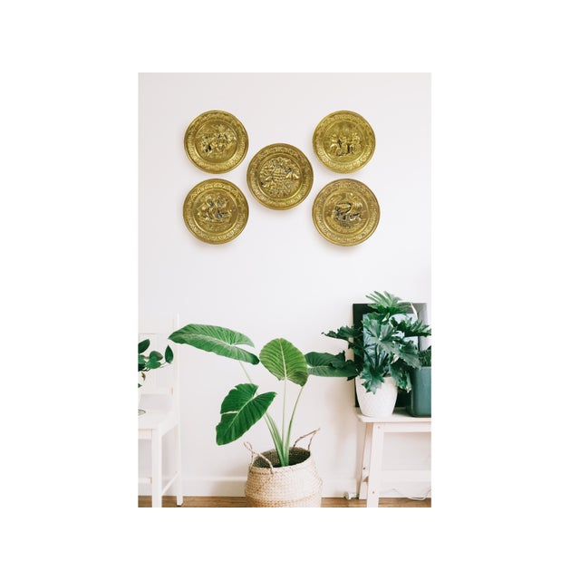 Beautiful set of embossed brass wall hanging decorative plate/tray with unique design are perfect set for any home decor....