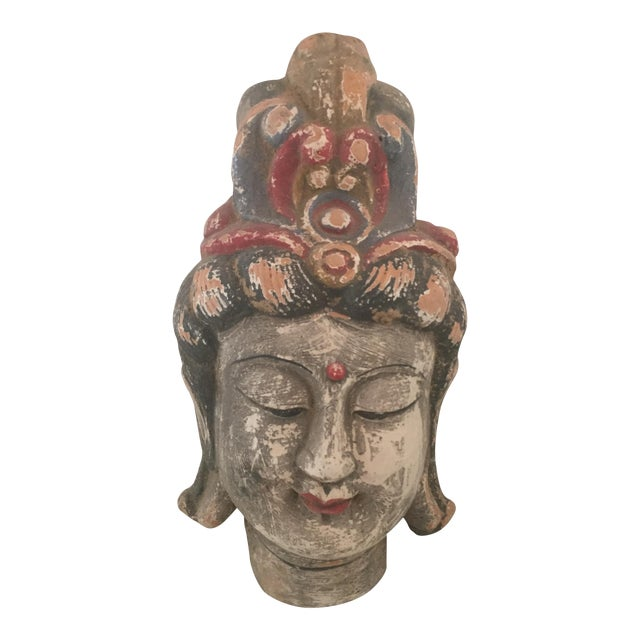 Quan Yin Terracotta Hand Painted Head For Sale