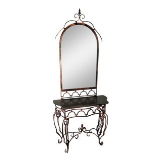 Artisan Made, Monumental Demi-Lune Table and Mirror, Hand Wrought Iron Italy For Sale