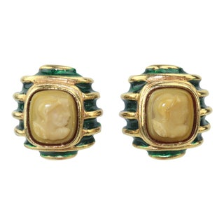 Lazaro Ny Neoclassical Gold Green Enamel & Cameo Earrings For Sale