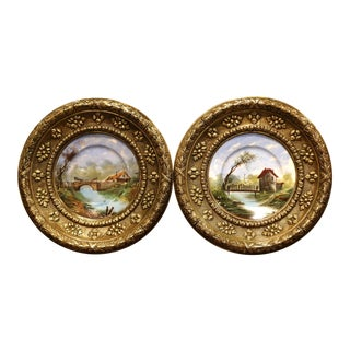 19th Century French Repousse Brass and Painted Porcelain Wall Chargers - a Pair For Sale