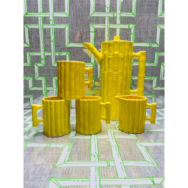 This listing is for a estate purchased Vintage Mid Century Hollywood Regency style bright yellow Faux Bamboo Coffee/Tea...
