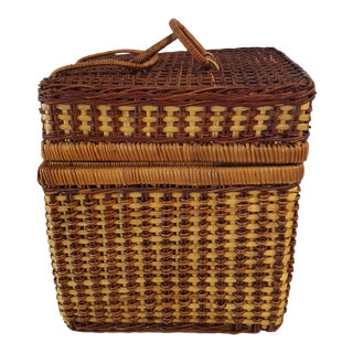 Vintage Boho Chic Two Tone Woven Wicker Storage Basket For Sale