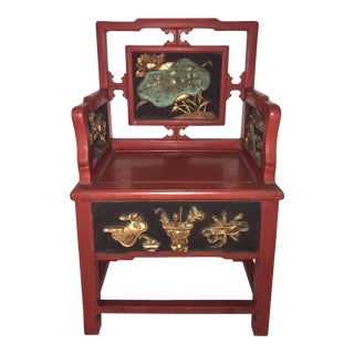 Decorative Antique Red & Gold Chinese Arm Chair With Lotus Leaf Panel & Auspicious Objects For Sale