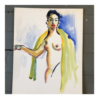 Original Vintage Female Nude Watercolor Painting 1980's For Sale