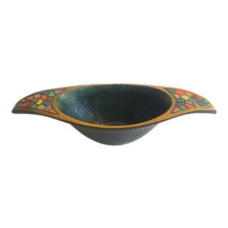 Vintage Mid Century Modern Israeli Brutalist Cast Brass Verdigris Multicolor Enamel Oval Bowl For Sale