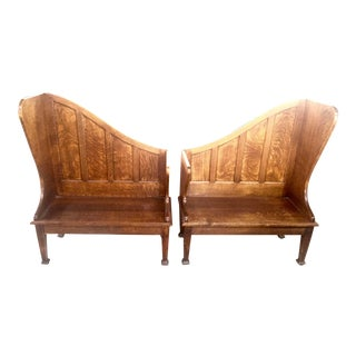 Antique Church Pews Oak a Pair For Sale