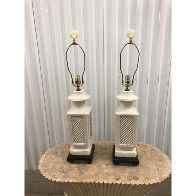 White Vintage Italian White Ceramic Black Wood Scroll Base Lamps - a Pair For Sale - Image 8 of 8