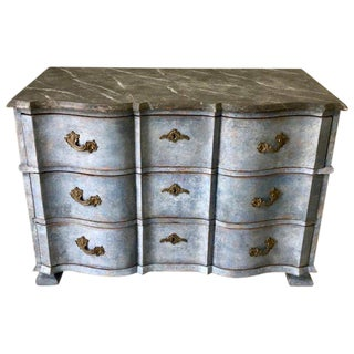 Late 18th Century Swedish Baroque Chest With Faux Marble-Top and Serpentine Drawers For Sale