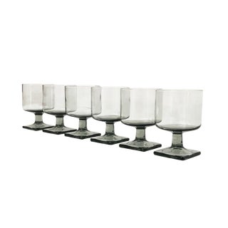 Set of 6 Mid Century Footed Glasess in Gray