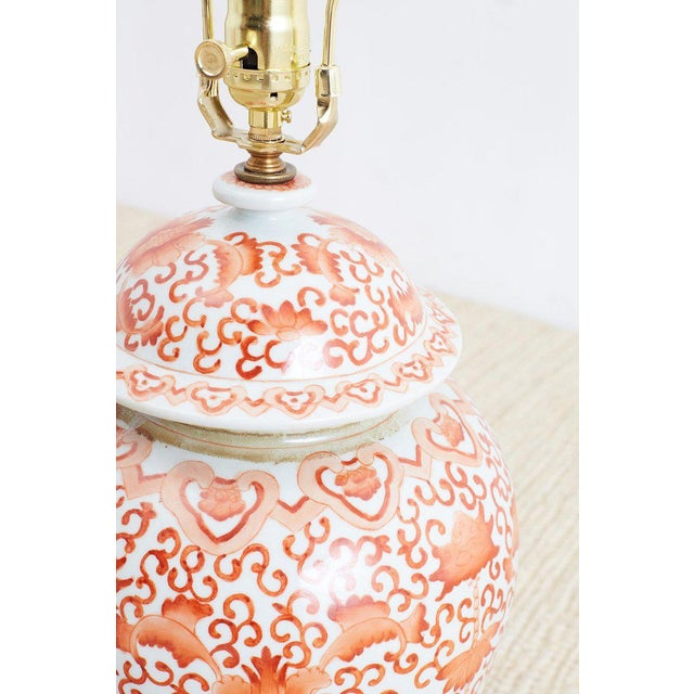Pair of Chinese Porcelain Floral Ginger Jar Lamps For Sale - Image 10 of 13