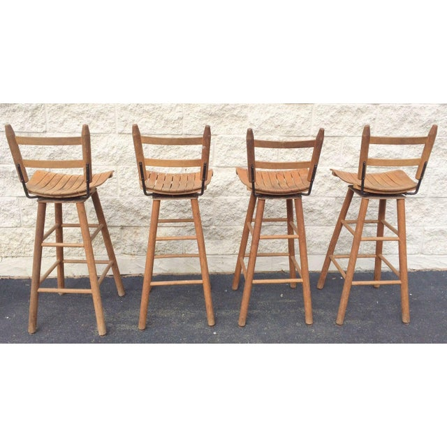 Mid-Century Modern Arthur Umanoff Type Mid-Century Modern Bar Stools - Set of 4 For Sale - Image 3 of 6