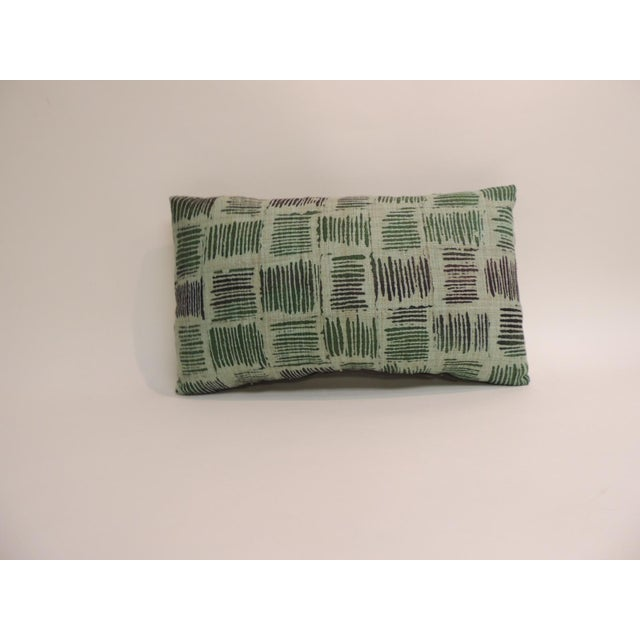 Mid-Century Modern Pair of Vintage Hand Blocked Green and Brown Decorative Lumbar Pillows For Sale - Image 3 of 5