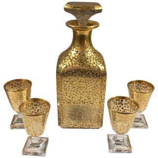 19th Century Baccarat Hand Gilt Decanter With Glasses - Set of 5 For Sale