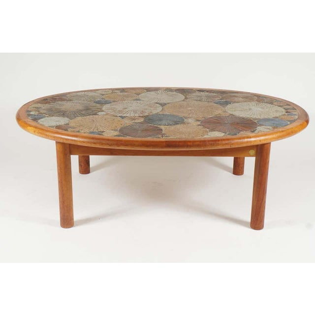 Wood Teak Tue Poulsen Ceramic Art Tile Coffee Table by Haslev 1960s Made in Denmark For Sale - Image 7 of 12