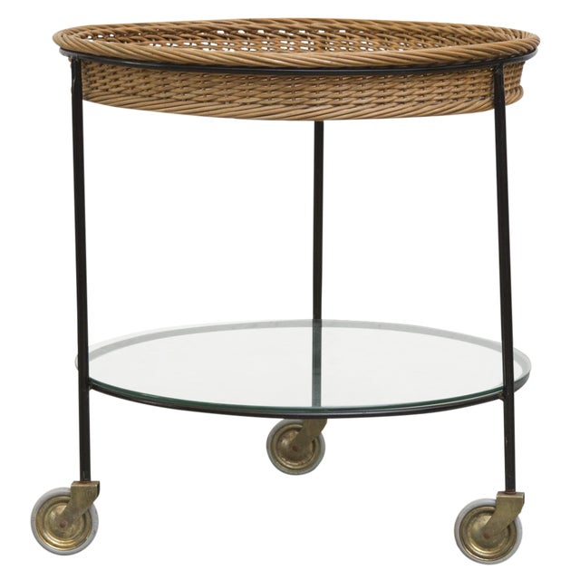 Teak and Woven Rattan Rolling Cart - Image 1 of 7