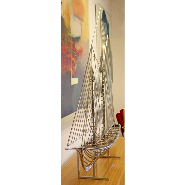 Curtis Jere Mid-Century Modern Chrome Sailboat Table Sculpture Signed Curtis Jere, 1970s For Sale - Image 4 of 9