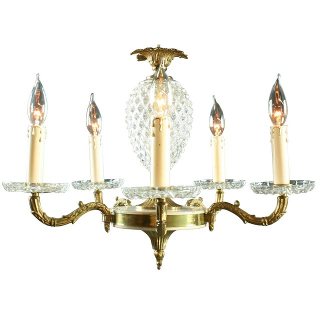 Vintage French Rococo Glass Pineapple Chandelier - Image 1 of 3