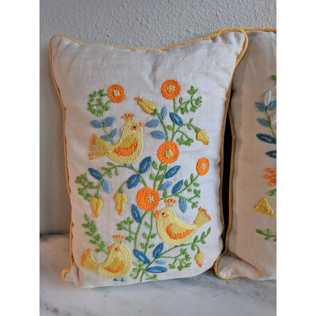 Children's Vintage Embroidered Crewel Bird Throw Pillows - A Pair For Sale - Image 3 of 10
