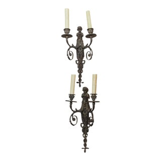 19th Century Italian Patinated Bronze Sconces - Pair For Sale