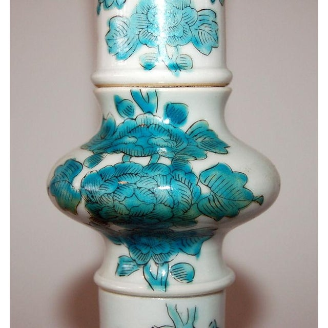 Gold Marbro Italian Porcelain Table Lamps Aqua For Sale - Image 8 of 9