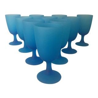 Vintage Italian Blue Satin Goblets - Set of 10